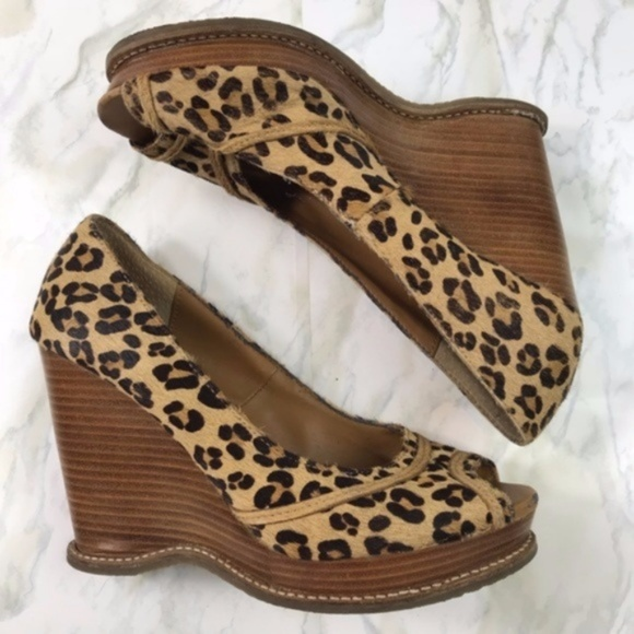 6fb9a9cce9a6 Steve Madden Shoes   Leopard Print Wedge Peep Toes Size 6   Poshmark